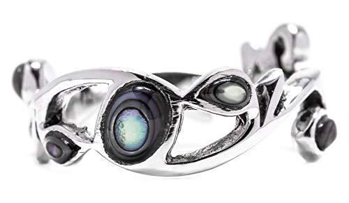 WINDALF Ring ARISHA h: 0.7 cm Seeopal 925 Sterlingsilber (Silber, 58 (18.5))