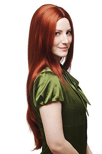 WIG ME UP ® - 3217-350 Perücke kupfer-rot glatt Mittelscheitel 75cm (Rote Haare Perücke)