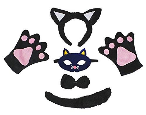 Petitebelle Traje de Máscara de 5 piezas diadema Bowtie Guantes de cola Un tamaño Gato negro