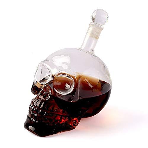 zanasta Totenkopf Flasche - 350ml | Deko Karaffe/Dekanter im Skull Design aus Glas