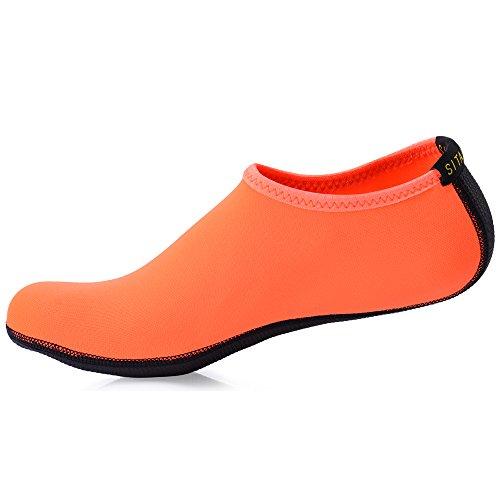 SITAILE Scarpe Da Mare Scarpette di Aqua da surf da spiaggia per Sportive Acquatici per da Abbigliamento sportivo Donna Uomo Unisex Adulto arancio
