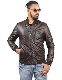 BARESKIN Men's Rib Collar Brown Leather Jacket