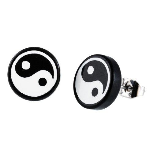 DonDon runde Ohrstecker schwarz mit Yin Yang Motiv 10 mm Ø und Edelstahl Stecker
