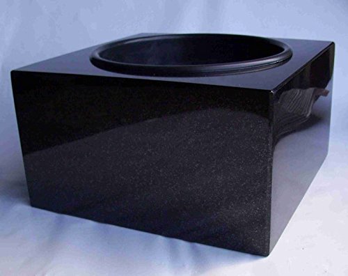 "designgrab ""Karree"" Grabschale 30x30 cm aus Granit Schwedisch Black SS1 schwarz Friedhofsschale Grabschmuck Granitschale Pflanzgrabschale Grabmalschale Pflanzschale"