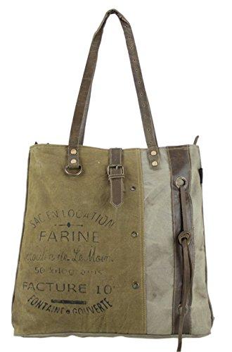 Sunsa Damen Shopper Vintage Tasche Schultertasche Handtasche aus Canvas 1804 43x39x10 cm
