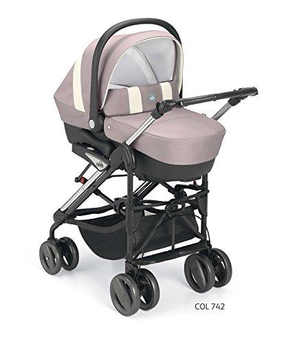 Trio cam combi tris nuovi colori 2018 manico unito carrozzina passeggino ovetto (742 rosa grigio)