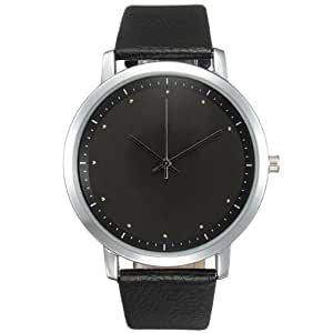 Men Fashion Black PU Leather Sport Quartz Wrist Watch