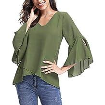 Btruely Camiseta Verano Mujer, Blusa con Cuello en v de Verano Camisetas Manga de Campana