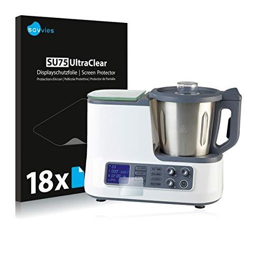 18x Savvies SU75 UltraClear Displayschutz Schutzfolie für Quigg/Ambiano WLAN-Küchenmaschine (2018) (ultraklar, einfach anzubringen)