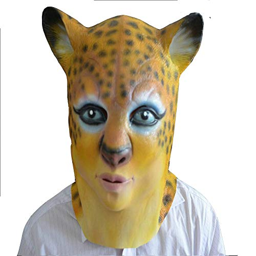 HHMMG Terror Leopard Demon Head Set Naturlatex Bar Party Beauty Hübscher Kerl Make-up Parodie Party Requisiten Beauty Leopard (Das Verschwinden Mann Kostüm)