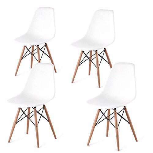 Eglemtek Eames DSW Bianco, set di 4 sedie in polipropilene e gambe in legno