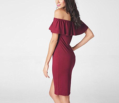 Creative Light- Femmes Jupe Eté Robe Sexy Le Mot Collier Sans Bretelles Lotus Leaf Sans Manches Robe Vin rouge