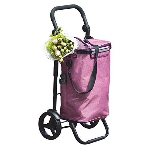 Outdoor-Einkaufstaschen Leichte Aluminiumlegierung Faltbarer Einkaufswagentrolleywagen Einkaufskorb 2 Rollen (20 cm) Klappzugwagen Oxford Tuch Große Kapazität 40L Gewicht: 2,7 kg in Lila