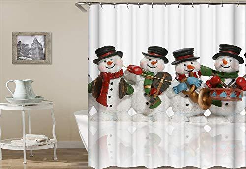 Karikaturdekoration. Vier Schneemänner. Einen Schal Und Eine Mütze Tragen. Halten Einer Violine, Einer Trommel Und Einer Trompete. Fußmatte, Badmatte, Küchenmatte, Rutschfest, Plus Samt, (Trompete Mütze)