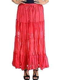 Exotic India Plain Casual Elastic Long Skirt With Crochet Border