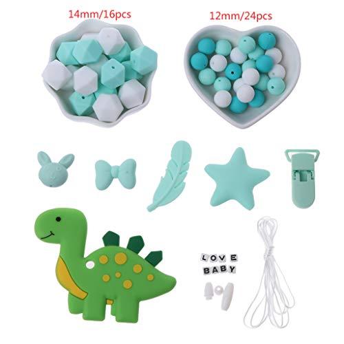 Huihu 1 Satz unvollendete Baby Kinderkrankheiten Zubehör Silikon Perlen Dinosaurier Beißring Feder Schnuller Clip (Holz-finish Reparieren)