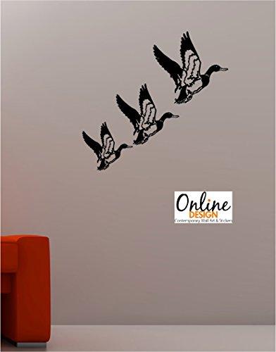 Flying Black Duck (Online Design 3 X Retro Flying Ducks Wandtattoo Vinyl Lounge Kitchen - Schwarz)