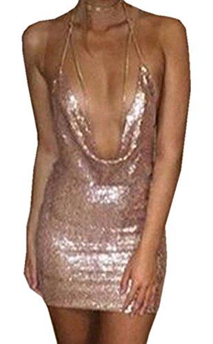 Simple-Fashion Donna Vestito Sexy Scollo a V Profondo Senza Schienale Pin Up Mini Abito da Party Sera e Cerimonia Moda Senza Maniche Paillettes Corto Vestiti