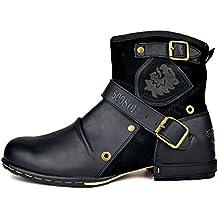 6fc70f57921 Botas para Moto Botines Hombre Invierno Zapatos Nieve Piel Forradas  Calientes Planas Combate Militares Martin Boots