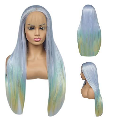 Solike Haute Qualité Perruques Cosplay pour Femmes Longue Raides Cheveux Dégradé Color Avec Lace devant