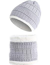 LAMEIDA Conjunto de Bufanda de Sombreros cálidos de Invierno Beanie de  Punto Sombrero Conjunto de Bufanda Slouchy Skull Cap Bufanda… 3930760dc06