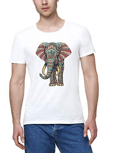 Elefante Adornado Ornate Elephant Hombres Camiseta Blanco | Men's White T-Shirt Tshirt T Shirt