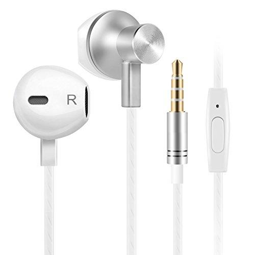 Auricolari in-ear, toplus auricolari cuffie in-ear stereo universale con microfono, compatibile con iphone,ipad, lg g2, samsung, mac book e gli altri smartphone(bianco)