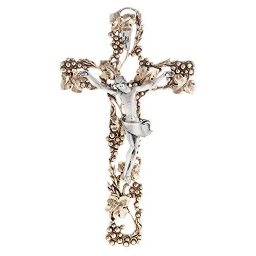 Holyart Kruzifix mit Trauben und Zweige aus Metall, 24cm.