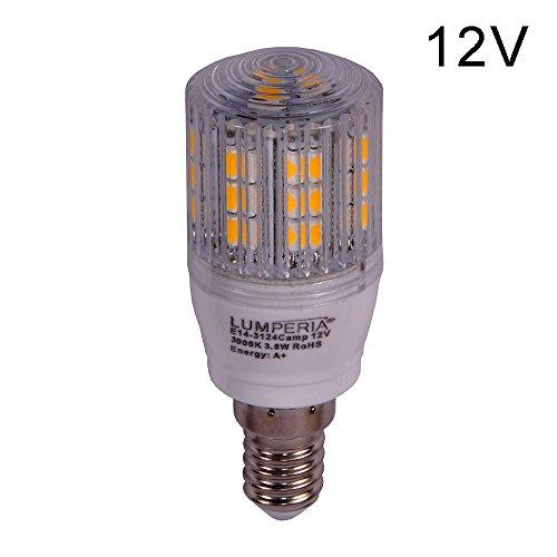 LUMPERIA® 12V LED-Camping E14 Leuchtmittel 3,8 Watt 24-SMD-5050 320° ersetzt 30W Rundstrahler Warmweiß 3000K