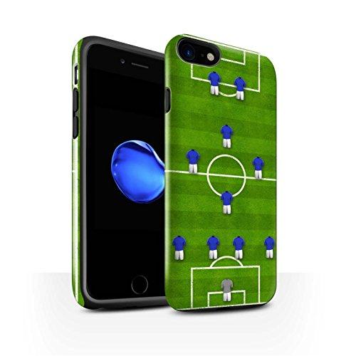 STUFF4 Glanz Harten Stoßfest Hülle / Case für Apple iPhone 8 / 4-1-2-1-2/Rot Muster / Fußball Bildung Kollektion 4-1-2-1-2/Blau