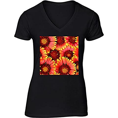 Camiseta V Cuello para Mujer - Naturaleza De La Flor Del Gerbera by WonderfulDreamPicture