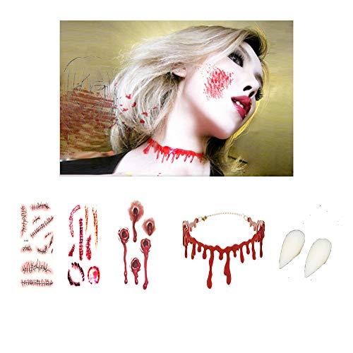 Zombie Paar Kostüm - Kungfu Mall 1 Stück Bluttropfende Halskette und 3 Stück Zombie-Narben Wundtattoos Aufkleber und 1 Paar Zombie-Vampir-Zahnersatz für Halloween-Kostüm-Requisiten