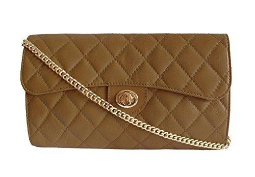"""Bags4Less Sac de soirée / Sac bandoulière / Sac à main / Clutch """"Elegance"""" matelassé Dimensions: 26cm x 16cm x 7cm - Noir, 36 Taupe"""