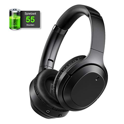 gorsun Active Noise Cancelling Kopfhörer mit 55 Stunden Spielzeit, HiFi Over Ear Kopfhörer mit tiefem Bass, Bluetooth Geräuschunterdrückung Kopfhörer mit CVC 8.0 und Bluetooth 5.0