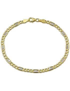 SilberDream Armband aus 333 Gold für Damen - Panzer Plättchen bicolor - Gelbgold 19cm - 8 Karat - GDA0129T