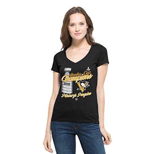 '47 NHL Pittsburgh Penguins Women's 2016 Stanley Cup Champions All Pro Flanker V-Neck Tee, Large, Jet Black -