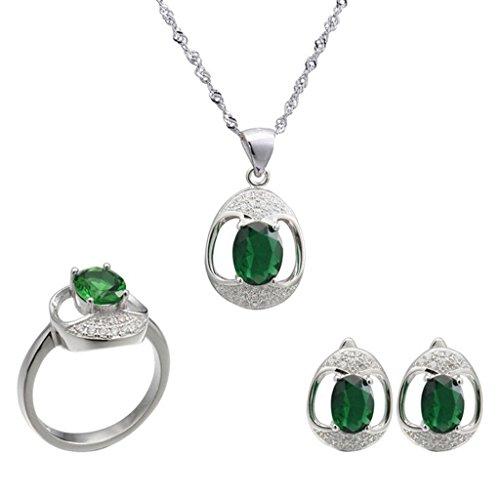 Aooaz Femmess Ensemble de Bijoux, Ovale CZ Cristal Creux Mariage Bague Collier Boucles d'Oreilles Rouge Vert Bleu Éternel Vert