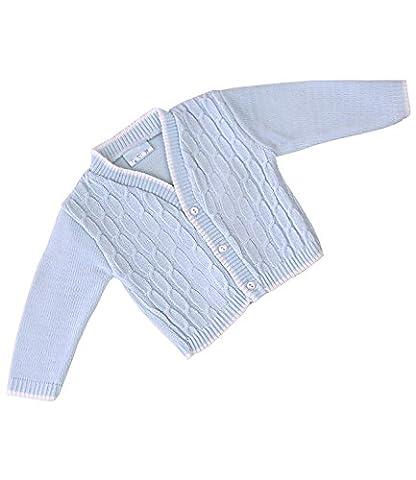 BabyPrem Cardigan Veste Bébé Garçon acrylique Bleu en tricot torsadé 0-18 mths 6-12