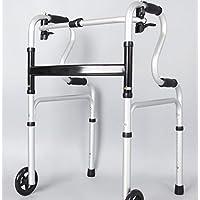 With(black) Walker alluminio lega ispessito quattro piedi stampelle camminatore pulsante pieghevole Walker