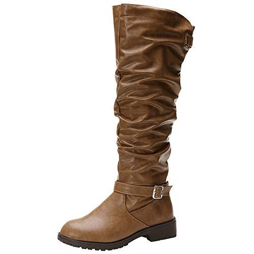 UFACE Damen Leder Zipper Round Toe Hohe Stiefel Overknee Schuhe Stiefel
