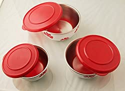 Lovato Micro Stainless Steel Printed Coated Bowl Set of 3