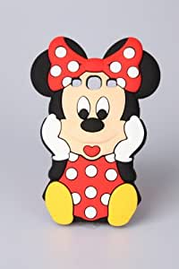 Samsung i9300 Galaxy S3 SIII Disney Minnie Mouse 3D Cartoon White Polka Dot Silicon Rubber Protective Case Cover Skin