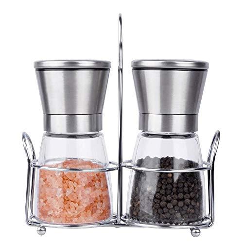 RZiioo Salz- und Pfeffermühlen-Set - Glas- und Edelstahl-Top-Shaker mit passendem Ständer Glas-shaker Set
