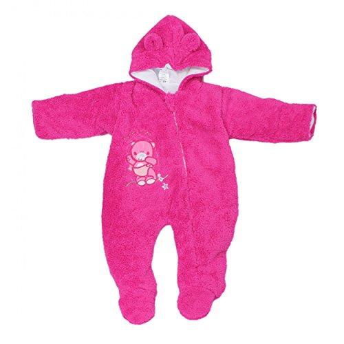 Baby Schneeanzug mit Kapuze Jungen Fleece-Overall Mädchen Teddyoverall Warm Wattiert Winter, Farbe: Amarant, Größe: 62