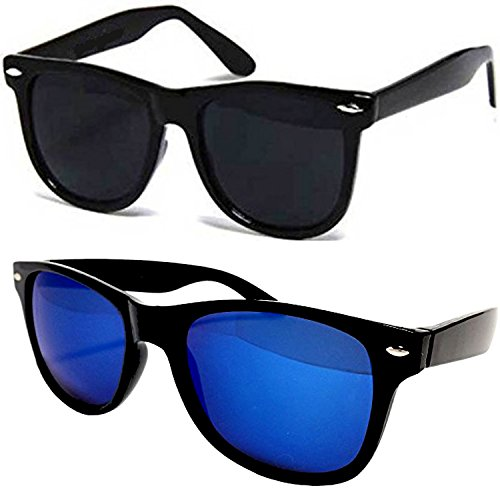 Sunglasses for boys stylish combo for mens womens girls at low price uv protected non polarized sun glasses goggle set (SMPL-BLKBLK-BLUE-MERC-WAYF|55|Wayfarer)  available at amazon for Rs.349