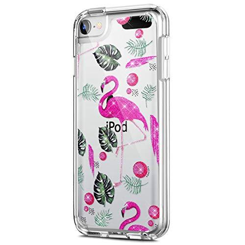 kompatibel mit iPod Touch 6G Hülle,iPod Touch 5G Hülle,Muster Glänzend Glitzer Kristall Transparent TPU Silikon Schutz Handy Hülle Case Tasche Bumper für iPod Touch 6G/ iPod Touch 5G - Rosa Flamingo (Lustig Touch Fällen Ipod 5)