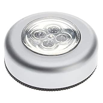 4-Lampe LED Light Touch Blanc ronde avec l'autocollant de voiture pour Office Home (3xAAA)