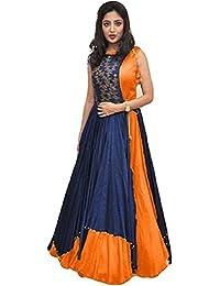 Shree Women's Silk Unstitched Lehenga Choli (SRENT012_Multi-Coloured_Free Size)