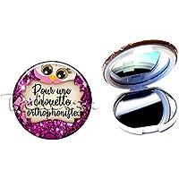 Miroir de poche compact, pour une chouette orthophoniste, hiboux, plaisir d'offrir, cadeaux personnalisés