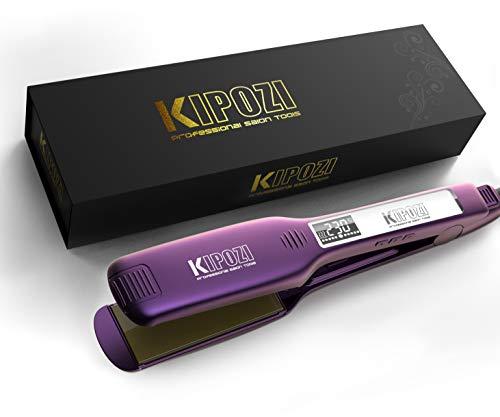 KIPOZI Profi Glätteisen Haarglätter mit 4.5cm extra breiten Platten und digitalem LCD-Display,Einstellbare temperatureinstellungen für alle haartypen, Lila